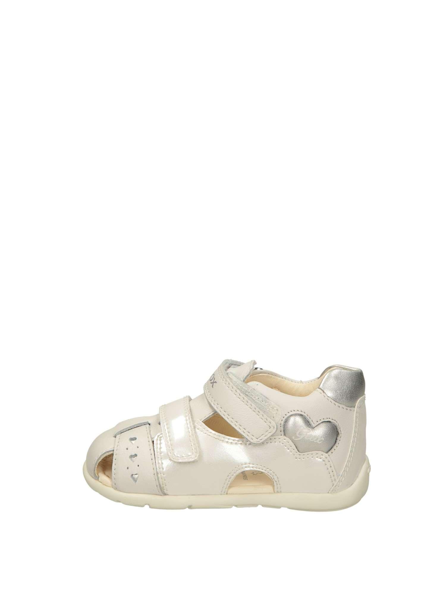 Geox Semi Aperta Bambina Bianco Argento | Lalilina