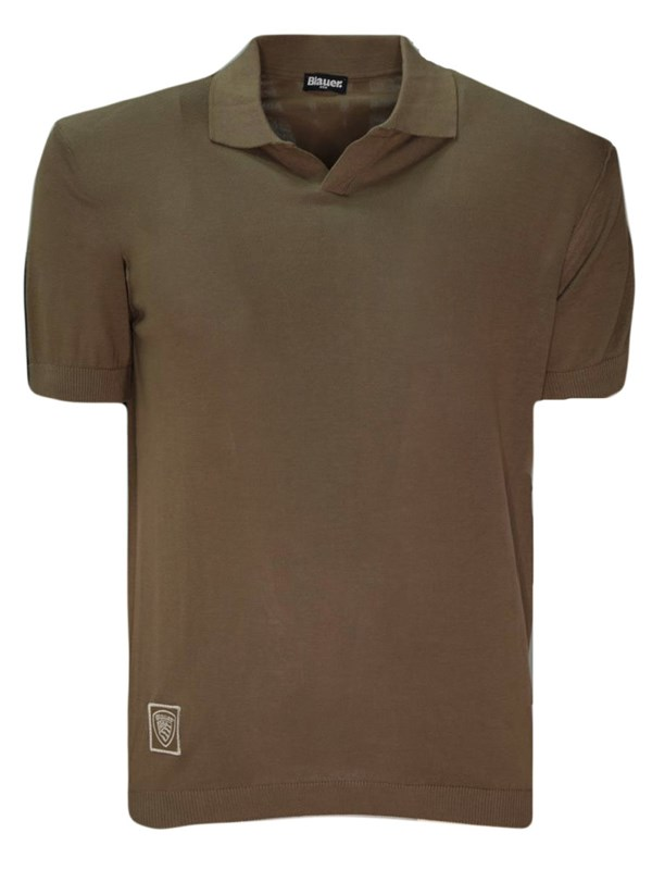 Blauer Polo Taupe